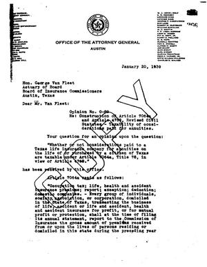 Primary view of object titled 'Texas Attorney General Opinion: O-89'.