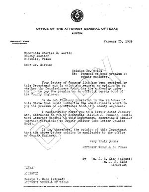 Primary view of object titled 'Texas Attorney General Opinion: O-104'.