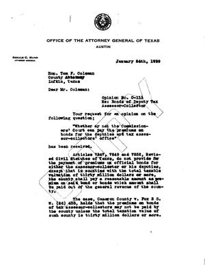Primary view of object titled 'Texas Attorney General Opinion: O-111'.