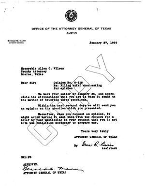 Primary view of object titled 'Texas Attorney General Opinion: O-116'.