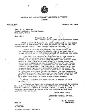 Primary view of object titled 'Texas Attorney General Opinion: O-127'.