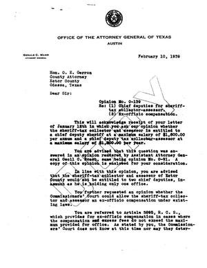Primary view of object titled 'Texas Attorney General Opinion: O-139'.