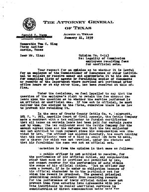 Primary view of object titled 'Texas Attorney General Opinion: O-143'.