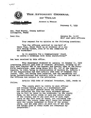 Primary view of object titled 'Texas Attorney General Opinion: O-147'.