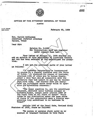 Primary view of object titled 'Texas Attorney General Opinion: O-158'.