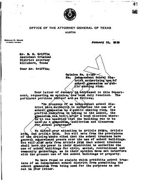 Primary view of object titled 'Texas Attorney General Opinion: O-167'.