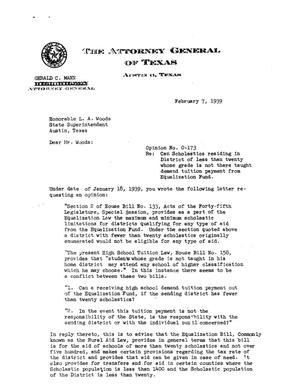Primary view of object titled 'Texas Attorney General Opinion: O-173'.