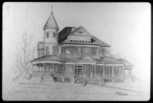 Primary view of object titled '[Drawing of the Hearne House at 503 E. Hodges]'.