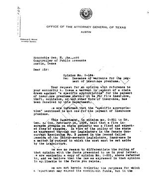 Primary view of object titled 'Texas Attorney General Opinion: O-184'.