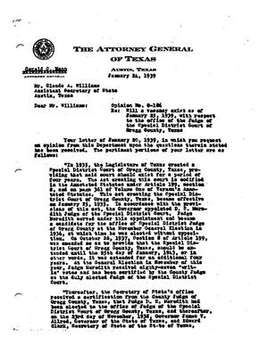 Primary view of object titled 'Texas Attorney General Opinion: O-186'.