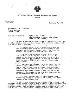 Primary view of object titled 'Texas Attorney General Opinion: O-187'.