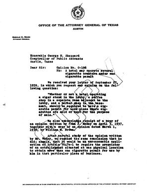 Primary view of object titled 'Texas Attorney General Opinion: O-196'.