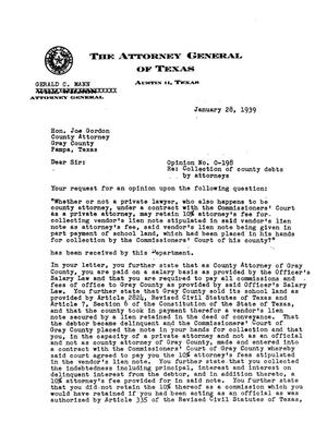 Primary view of object titled 'Texas Attorney General Opinion: O-198'.