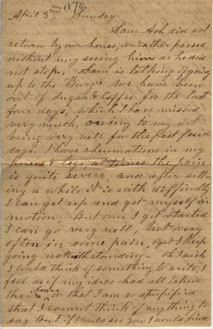 Primary view of object titled 'Letter to [Cromwell Anson Jones,] [3 April 1870]'.