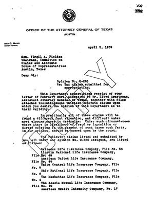 Primary view of object titled 'Texas Attorney General Opinion: O-226'.