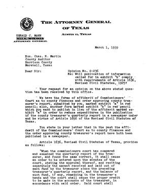 Primary view of object titled 'Texas Attorney General Opinion: O-236'.