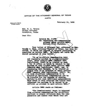 Primary view of object titled 'Texas Attorney General Opinion: O-279'.