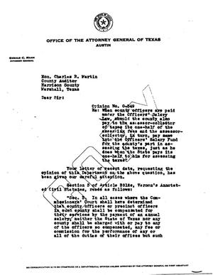 Primary view of object titled 'Texas Attorney General Opinion: O-349'.