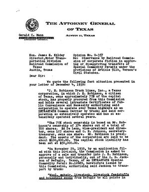 Primary view of object titled 'Texas Attorney General Opinion: O-357'.