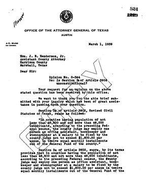 Primary view of object titled 'Texas Attorney General Opinion: O-364'.