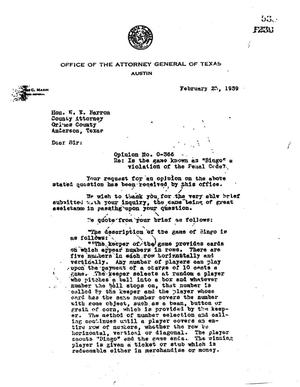 Primary view of object titled 'Texas Attorney General Opinion: O-366'.