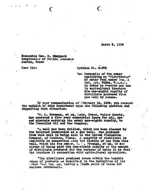 Primary view of object titled 'Texas Attorney General Opinion: O-372'.