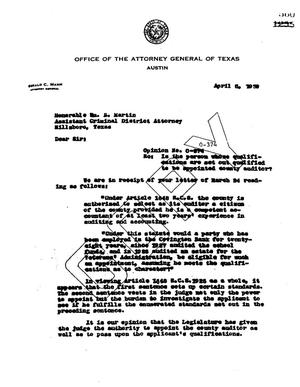 Primary view of object titled 'Texas Attorney General Opinion: O-374'.