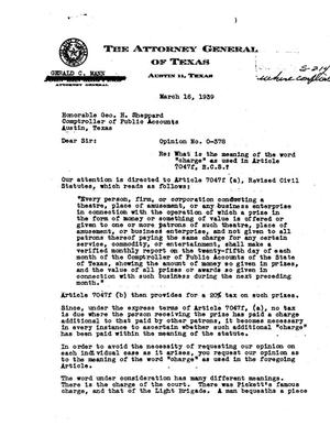 Primary view of object titled 'Texas Attorney General Opinion: O-378'.