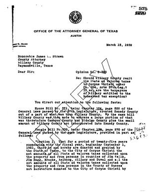 Primary view of object titled 'Texas Attorney General Opinion: O-380'.