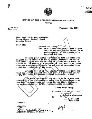 Primary view of object titled 'Texas Attorney General Opinion: O-389'.