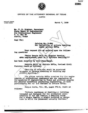 Primary view of object titled 'Texas Attorney General Opinion: O-394'.