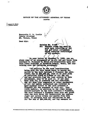 Primary view of object titled 'Texas Attorney General Opinion: O-402'.