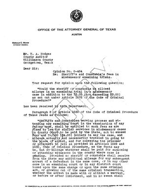 Primary view of object titled 'Texas Attorney General Opinion: O-404'.