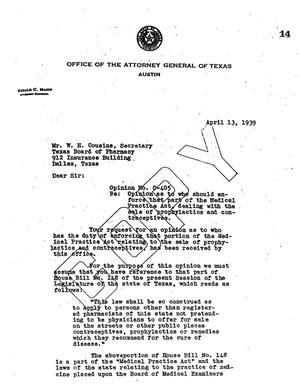 Primary view of object titled 'Texas Attorney General Opinion: O-405'.