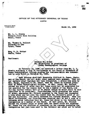 Primary view of object titled 'Texas Attorney General Opinion: O-410'.