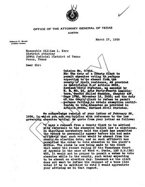 Primary view of object titled 'Texas Attorney General Opinion: O-414'.