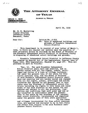 Primary view of object titled 'Texas Attorney General Opinion: O-415'.