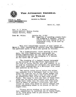 Primary view of object titled 'Texas Attorney General Opinion: O-440'.