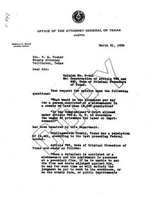 Primary view of object titled 'Texas Attorney General Opinion: O-441'.