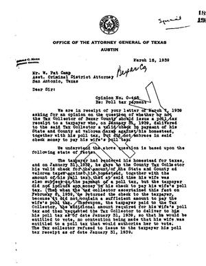 Primary view of object titled 'Texas Attorney General Opinion: O-448'.