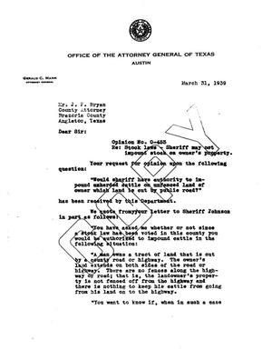 Primary view of object titled 'Texas Attorney General Opinion: O-453'.