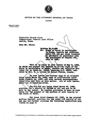 Primary view of object titled 'Texas Attorney General Opinion: O-458'.