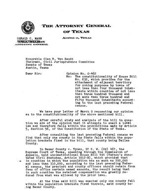 Primary view of object titled 'Texas Attorney General Opinion: O-462'.