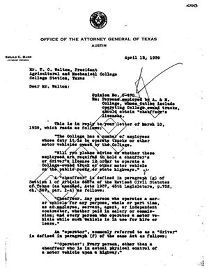 Primary view of object titled 'Texas Attorney General Opinion: O-470'.