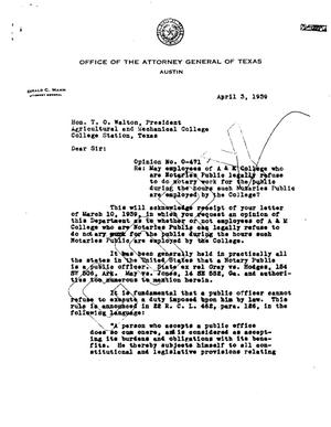 Primary view of object titled 'Texas Attorney General Opinion: O-471'.