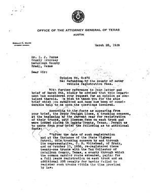 Primary view of object titled 'Texas Attorney General Opinion: O-472'.
