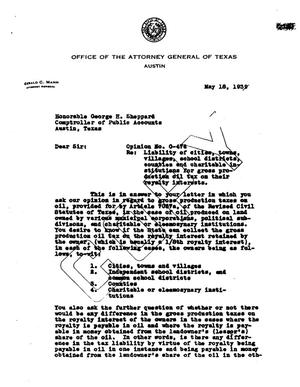 Primary view of object titled 'Texas Attorney General Opinion: O-476'.