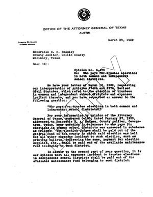 Primary view of object titled 'Texas Attorney General Opinion: O-479'.