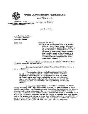 Primary view of object titled 'Texas Attorney General Opinion: O-481'.