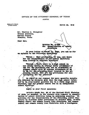 Primary view of object titled 'Texas Attorney General Opinion: O-482'.
